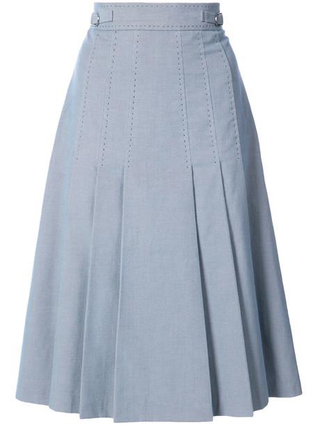 Gabriela Hearst skirt midi skirt pleated women midi cotton blue silk