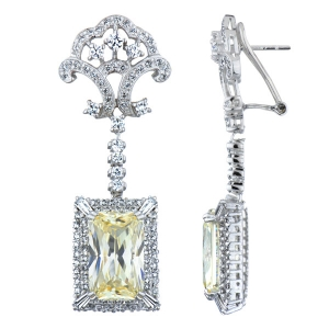 Elizabeth's Estate Jewellery Collection: Simulated Canary Drop Earrings - Emerald Cut French Back