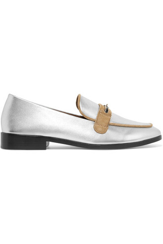 metallic loafers silver leather suede shoes