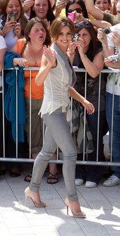 pants,grey leather pants,tumblr,grey pants,leather pants,skinny pants,pumps,peep toe pumps,high heel pumps,top,white top,sleeveless,sleeveless top,cheryl cole,celebrity style,celebrity