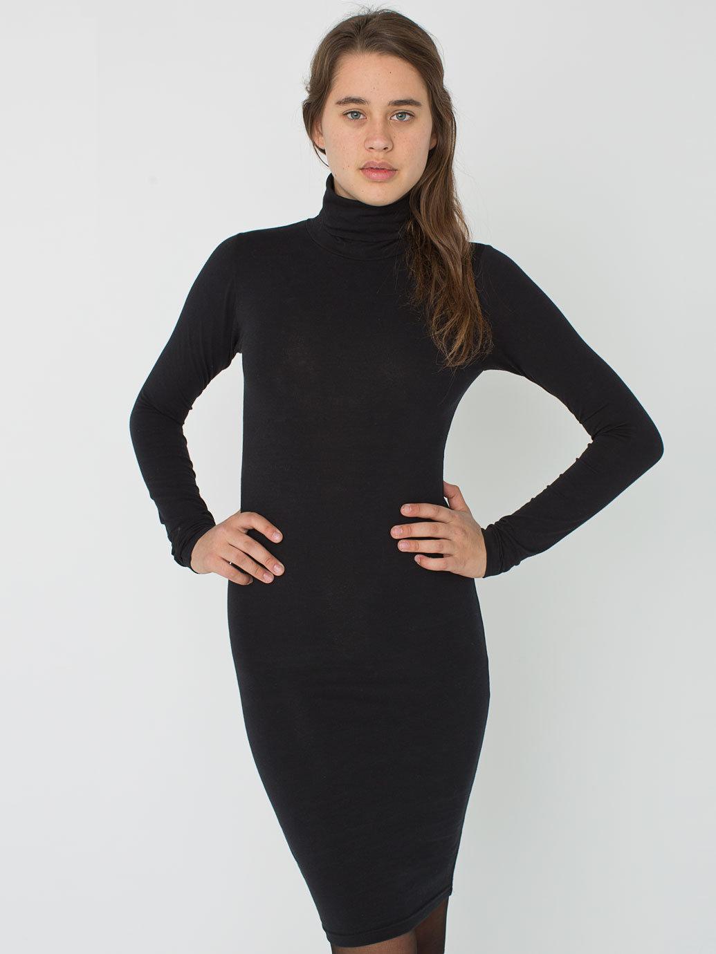 Cotton spandex jersey turtleneck dress