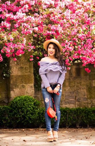 cute & little blogger hat jewels red bag shoulder bag off the shoulder top sandals spring outfits