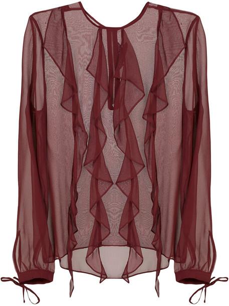 blouse sheer blouse sheer women silk purple pink top