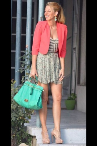 blouse skirt jacket bag jewels shoes serena van der woodsen top gossip girl blake lively high heels