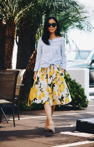 hallie daily blogger skirt bag shoes shirt sunglasses jewels midi floral skirt