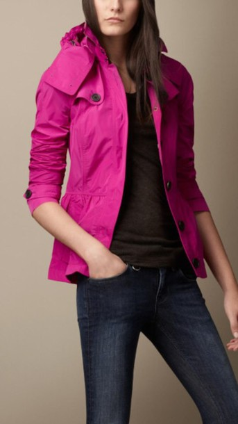 jacket fushia burberry peplum jackett coat fushia short burberry  jacket