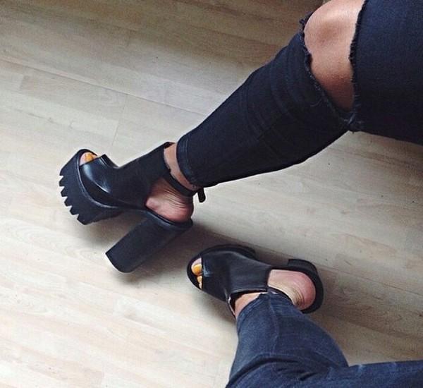 shoes high heels black high heels leather high heels platform shoes