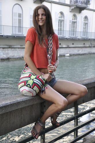 bag crop tops orange crop top denim shorts mochila wayuu cut off shorts ankle strap flats