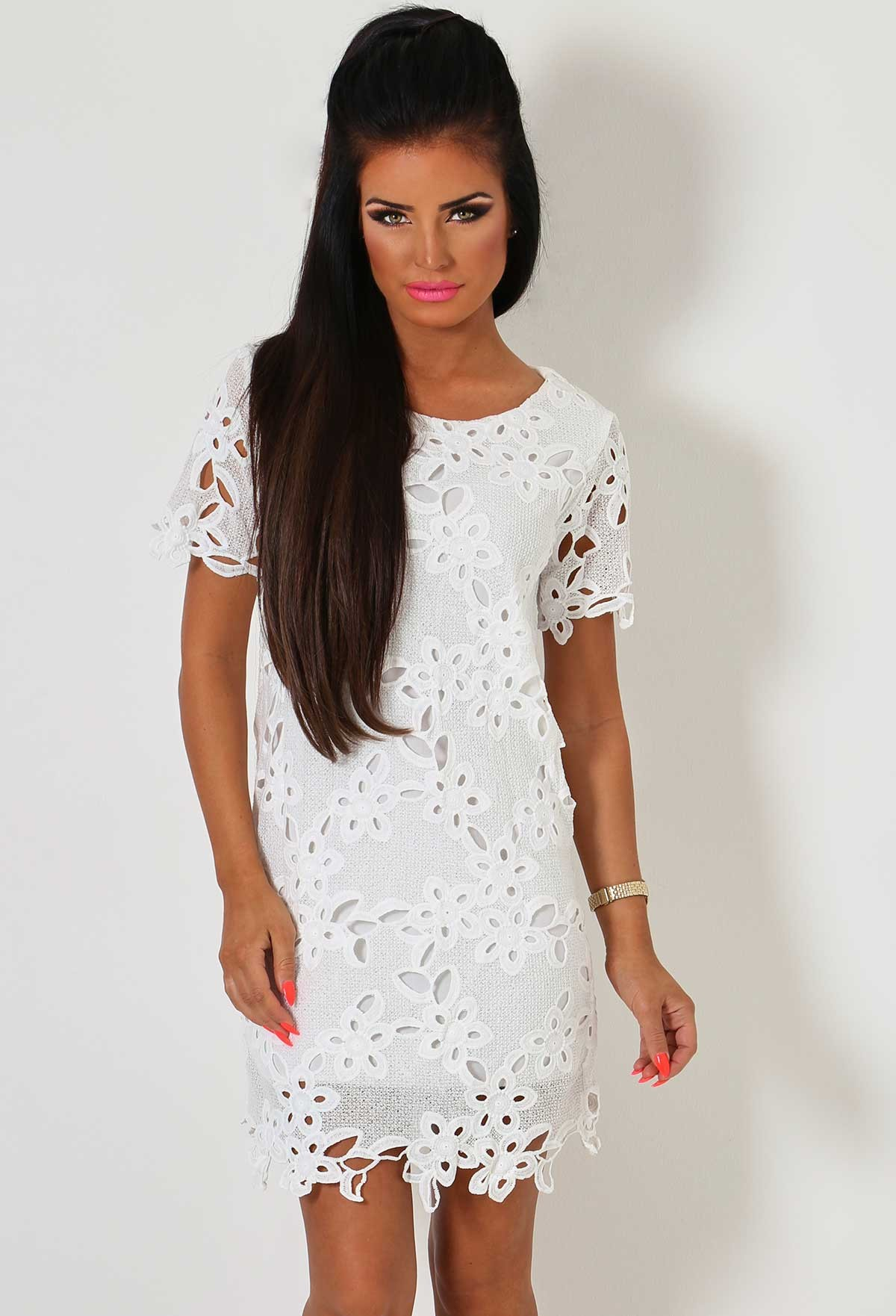 Maddalena White Crochet Mini Dress | Pink Boutique