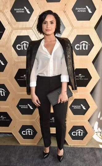 bag clutch blouse pumps grammys 2016 demi lovato jacket