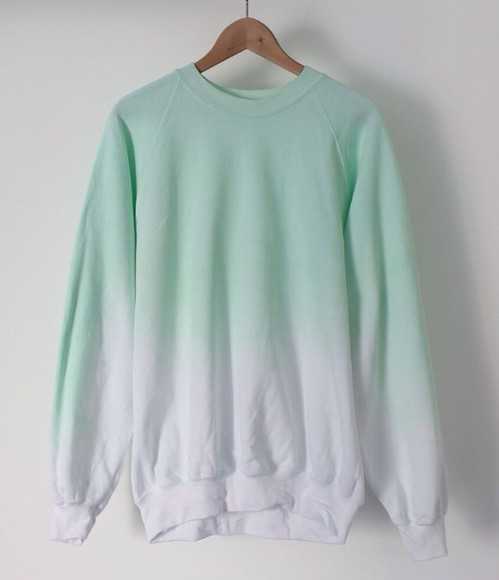cotton sweater white aqua ombre jumper crewneck