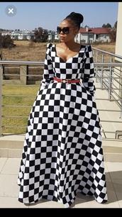 dress,checkerboard,pockets