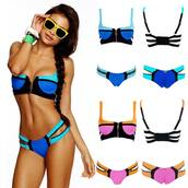 swimwear,swimwear two piece,stripes,bikini,underwear,bandage bikini,blue swimwear,zip,neon bikini,neon colors