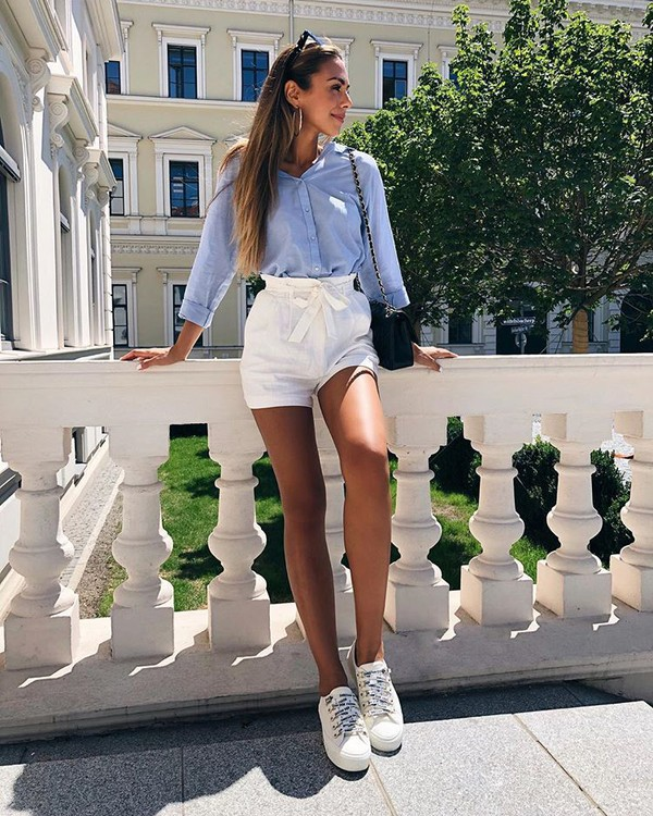 shorts white shorts shirt top bag shoes