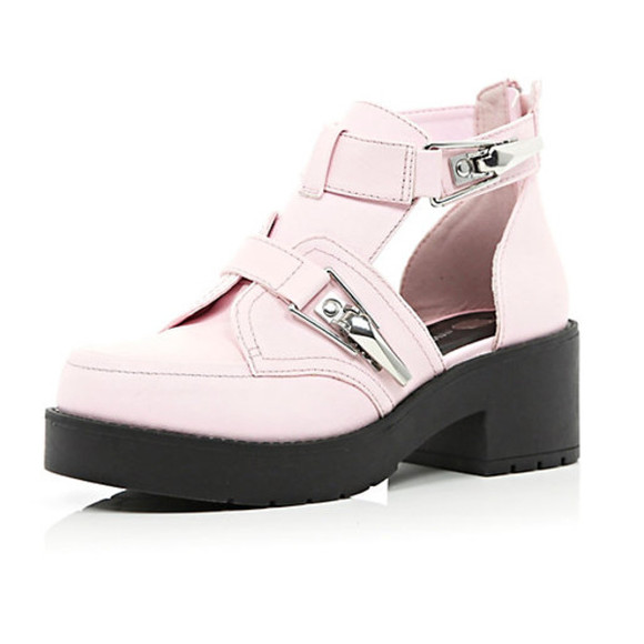 shoes pink fashion pink shoes buckle cut out cut out shoes platform chunky buckles high heels black and pink black pink silver spring summer river island