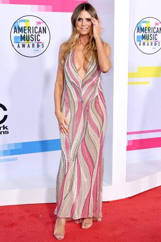 dress heidi klum maxi dress gown prom dress plunge v neck american music awards sandals shoes