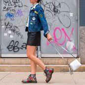 jacket,denim jacket,black leather skirt,designer bag,patch,90s style,DrMartens,anya hindmarch