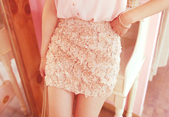 pretty formal skirt girly clothes rose pink floral cute doll summer