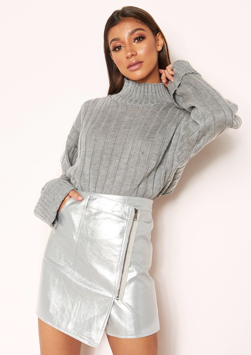 Georgie Silver PU Zip Mini Skirt