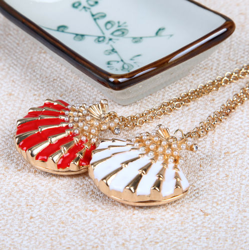 Jewelry exquisite pearl bean oil seashells scallop necklace female-inPendant Necklaces from Jewelry on Aliexpress.com