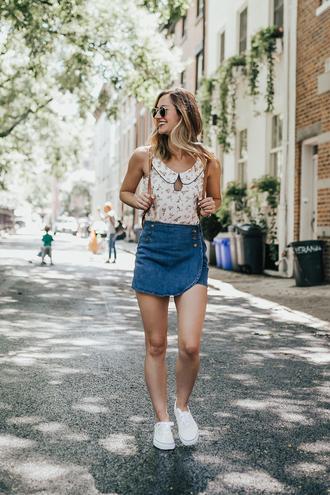 skirt skorts denim skirt mini skirt white sneakers top blogger blogger style backpack