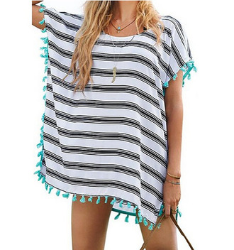 dress summer dress casual dress crewneck black and white striped dress tassel beach