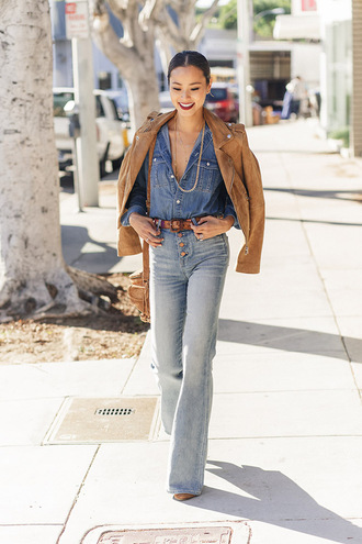 jacket shirt fall outfits jamie chung blogger fall jacket jeans denim denim shirt suede jacket necklace jewels