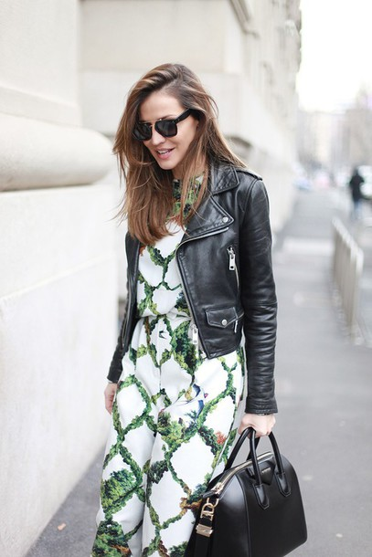 lady addict blogger sunglasses leather jacket tropical spring outfits givenchy bag givenchy jumpsuit