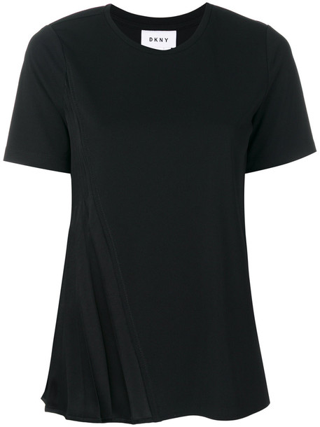 DKNY - classic fitted T-shirt - women - Polyester - S, Black, Polyester