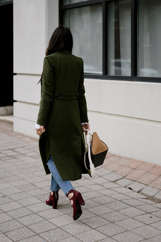 coat tumblr long coat green long coat green coat denim jeans blue jeans bag nude bag shoes red heels high heels heels velvet velvet shoes