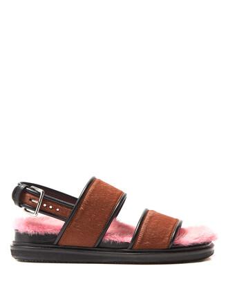 hair fur sandals pink shoes