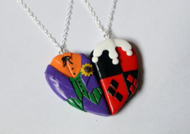 jewels harley quinn joker comics heart necklace