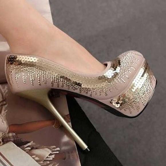 gold sequins shoes mauve high heels