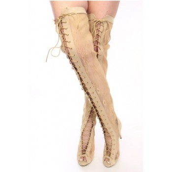 Boots : lace my thighs in beige