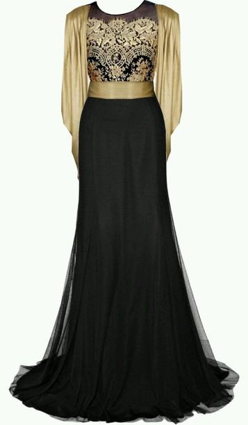 dress gown black and gold black dress formal dress