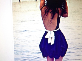 dress blue white dress backless dress white bow
