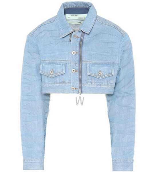 Off-White Cropped denim jacket in blue