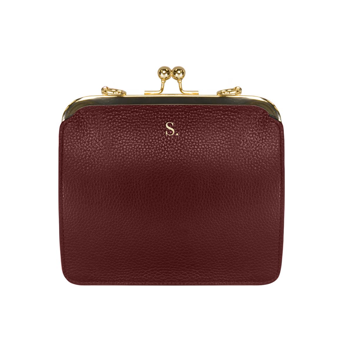 Grainy Burgundy Lola Bag (Gold Metal Detail)