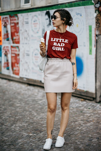 t-shirt tumblr red t-shirt quote on it skirt mini skirt nude skirt sneakers white sneakers sunglasses shoes