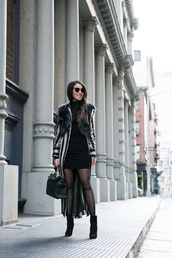 blogger,jacket,dress,shoes,sunglasses,wendy's,tights,lookbook,ankle boots,handbag,winter outfits