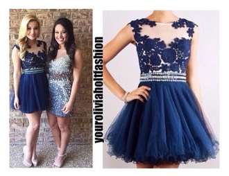 dress olivia holt style prom navy short fashion prom dress short prom dress lace dress floral floral dress navy dress short dress disney tv/movies worn on tv
