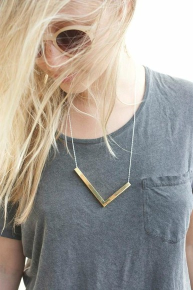 gold geometric jewels necklace l