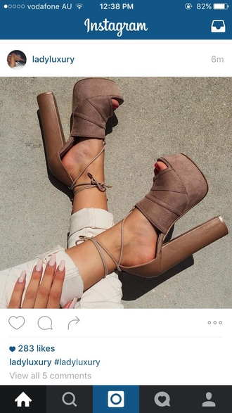 shoes heels tan high heels strappy heels platform high heels nude nudes fall outfits suede heels taupe brown tumblr cute fashion toast platform shoes brown high heels nails brown shoes fashion shoes dope dope shoes beige shoes hight heels suede boots lace up summer open toes