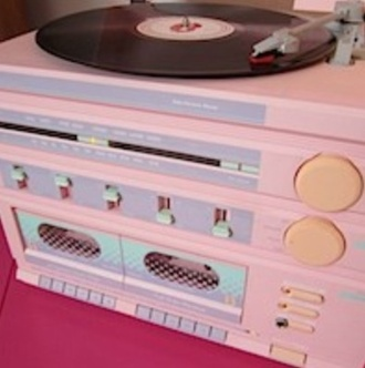record player record music vinyl home decor technology home accessory pastel cd pink yellow green purple nice girly pastel pink hipster