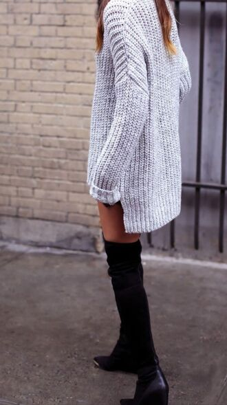 dress sweater dress light grey sweater over the knee boots oversized sweater knitted sweater grey sweater