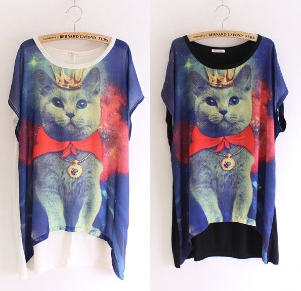 Celeb chic womens galaxy cat space print graphic t