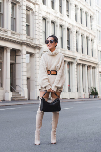 sweater all nude everything nude sweater turtleneck turtleneck sweater oversized oversized sweater boots nude boots over the knee boots over the knee bag belt sunglasses
