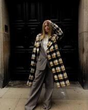 coat,checkered,long coat,wide-leg pants,checkered pants,blazer,check blazer,white shirt