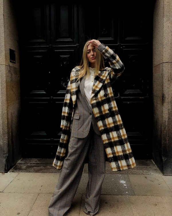 coat checkered long coat wide-leg pants checkered pants blazer check blazer white shirt