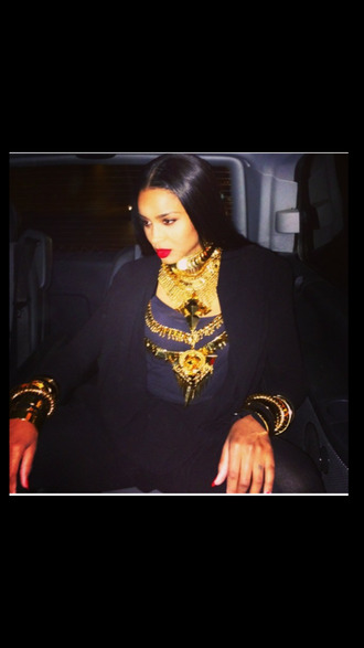 jewels ciara ciara givenchy givenchy givenchy style allblackeverything gold jewelry gold chain black blazer high fashion advisory gold bracelet gold ring gold body chain red lipstick t-shirt queen gold chunky necklace bad swag blackbarbie jewelry bracelets ring girly piercing chain body body chain belly belly chain belly buttom navel navel piercing